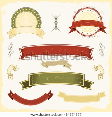 Grunge Banner Set/ Illustration of a collection of design grunge vintage banners, labels, seal stamper. All elements are on separated layers so you can easily select and edit them