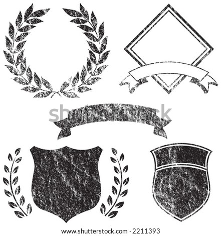 Grunge Banner, Shields, Laurels and Logo Elements