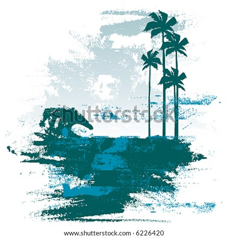 grunge beach break - stock vector