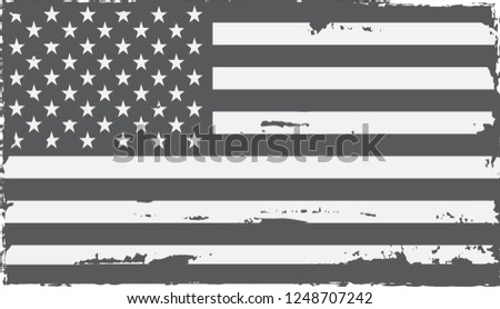 Grunge black and white American flag.Dirty old USA flag. #1248707242