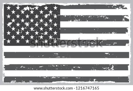 Grunge black and white American flag.Vintage flag of USA. #1216747165