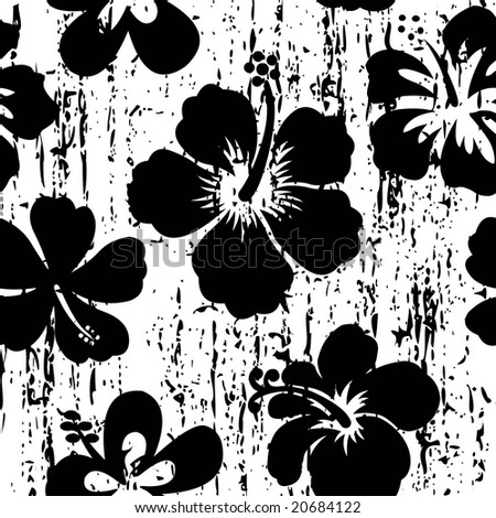 stock vector : Grunge, black and white hibiscus seamless tile pattern.
