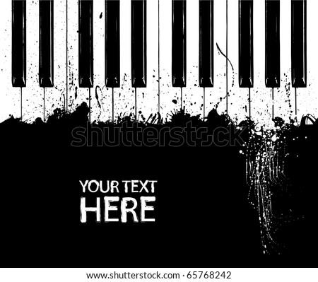 grunge black and white piano