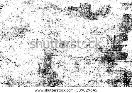 Grunge Black And White Urban Vector Texture Template. Dark Messy Dust Overlay Distress Background. Easy To Create Abstract Dotted, Scratched, Vintage Effect With Noise And Grain #539029645