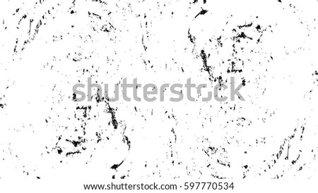 Grunge Black And White Urban Vector Texture Template. Dark Messy Dust Overlay Distress Background. Easy To Create Abstract Dotted, Scratched, Vintage Effect With Noise And Grain. Aging Design Element #597770534