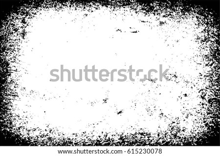 Grunge Black And White Urban Vector Texture Template. Dark Messy Dust Overlay Distress Background. Easy To Create Abstract Dotted, Scratched, Vintage Effect With Noise And Grain. Aging Design Element #615230078