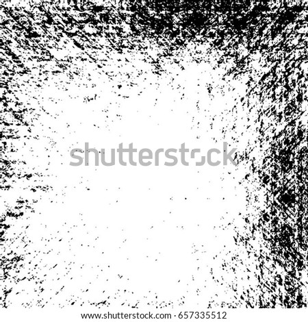 Grunge Black And White Urban Vector Texture Template. Dark Messy Dust Overlay Distress Background. Easy To Create Abstract Dotted, Scratched, Vintage Effect With Noise And Grain. Aging Design Element #657335512