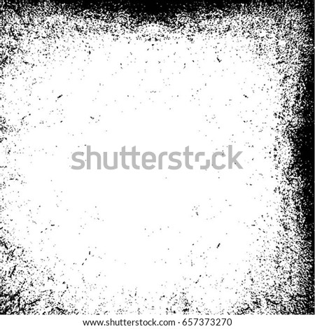 Grunge Black And White Urban Vector Texture Template. Dark Messy Dust Overlay Distress Background. Easy To Create Abstract Dotted, Scratched, Vintage Effect With Noise And Grain. Aging Design Element #657373270