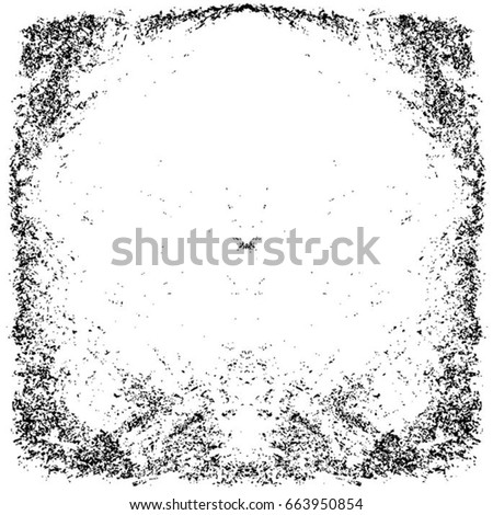Grunge Black And White Urban Vector Texture Template. Dark Messy Dust Overlay Distress Background. Easy To Create Abstract Dotted, Scratched, Vintage Effect With Noise And Grain. Aging Design Element #663950854