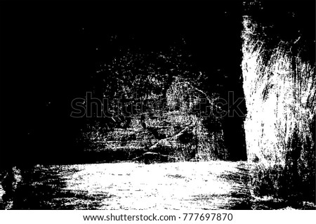 Grunge Black And White Urban Vector Texture Template. Dark Messy Dust Overlay Distress Background. Easy To Create Abstract Dotted, Scratched, Vintage Effect With Noise And Grain. Aging Design Element #777697870