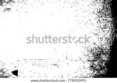 Grunge Black And White Urban Vector Texture Template. Dark Messy Dust Overlay Distress Background. Easy To Create Abstract Dotted, Scratched, Vintage Effect With Noise And Grain. Aging Design Element #778450495