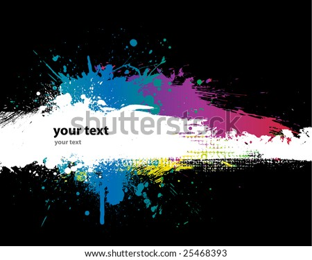 Grunge Black background with a colorful rainbow ink splat effect 2