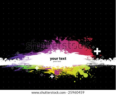 Grunge Black background with a colorful rainbow ink splat effect 3