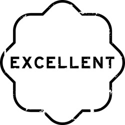 Grunge black excellent word rubber seal stamp on white background