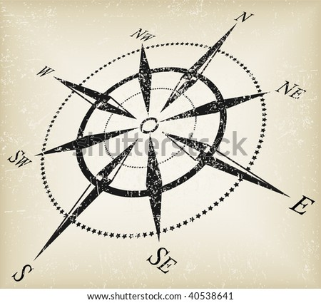 grunge black over brown compass vector