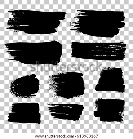 Grunge black rough brush strokes vector set. Abstract brush rough black, illustration of stroke brush collection