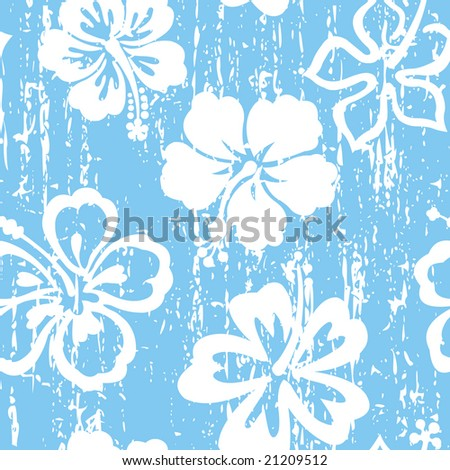 stock vector Grunge blue hibiscus seamless tile pattern