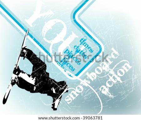 grunge blue retro snowboard vector