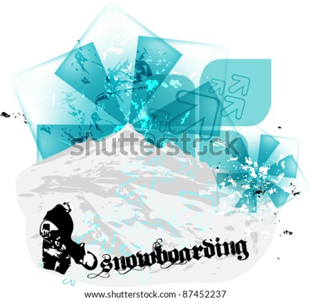 grunge blue snowboard eps10 vector background