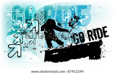 grunge blue snowboard eps10 vector background