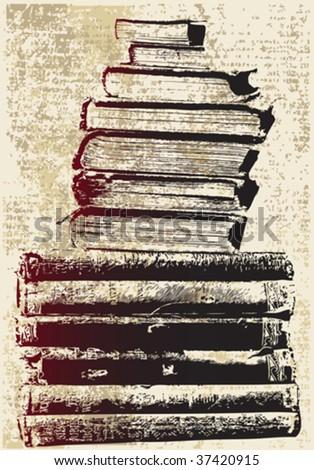 Grunge Book Stack - stock vector