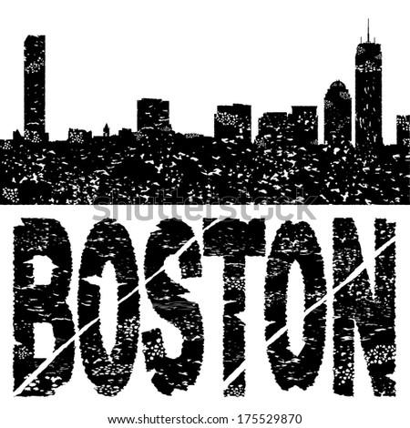 grunge boston skyline with text