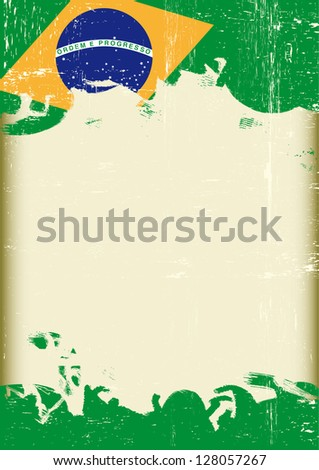 Grunge Brazilian flag. A poster with a large scratched frame and a grunge brazilian flag for your publicity.