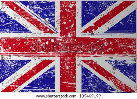 grunge British flag - stock vector
