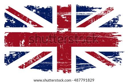 Grunge British flag.Vector template.