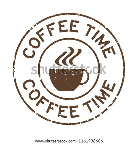 Grunge brown coffee time word with cup icon round rubber seal stamp on white background