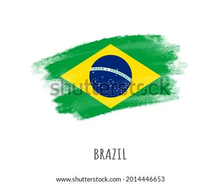 Grunge brush stroke flag of Brazil.