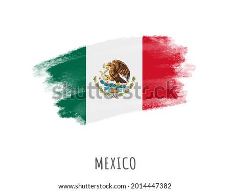 Grunge brush stroke flag of Mexico.