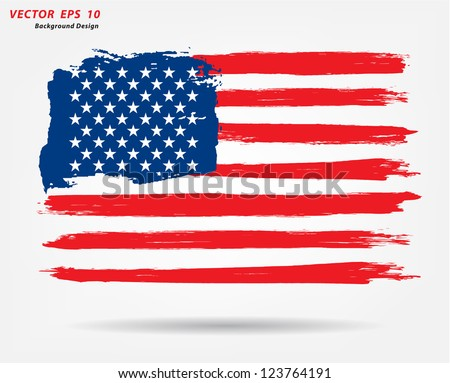 Grunge brush stroke watercolor of American flag, Vector illustration #123764191