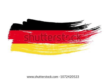 Grunge brush stroke with Germany national flag. Watercolor painting flag of Germany. Symbol, poster, banne of the national flag. Style watercolor drawing. Vector Isolated on white background.