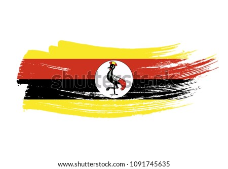 Shutterstock Grunge brush stroke with Uganda national flag. Watercolor painting flag of Uganda. Symbol, poster, banne of the national flag. Style watercolor drawing. Vector Isolated on white background.
