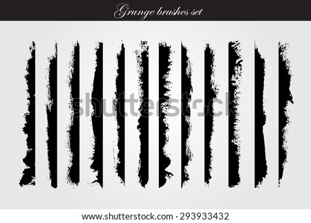 Grunge brush strokes set.Grunge edges,grunge borders.Vector design template.