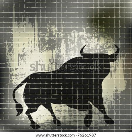 Grunge Bull Vector Background
