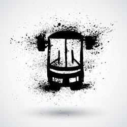 Grunge bus icon