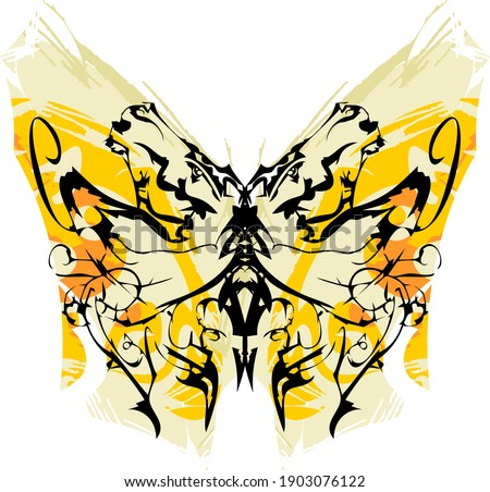 Grunge butterfly wings with linear pattern. Textural butterfly with an unusual pattern for wallpaper, posters, textiles, prints on t-shirts, labels, tattoos, etc.