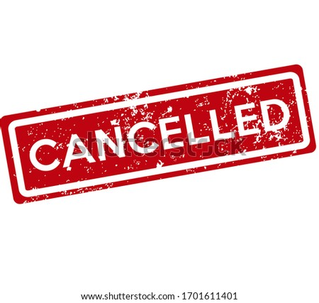 Grunge cancelled stamp vector. White text on red rectangle. Icon for web, design and logos. Photo stock ©