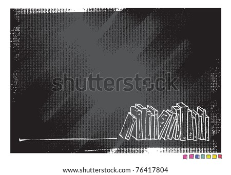 Grunge canvas background, book motive (simple linear drawing, vector)