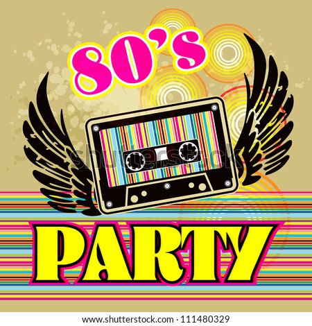 Grunge Cassette Tape on grunge background / 80s Party Flyer With Audio Cassette Tape