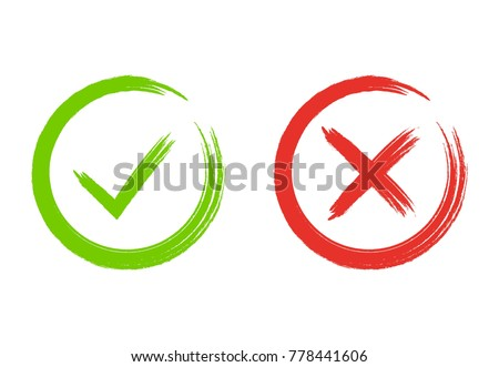Grunge check marks. Green tick and red cross. YES or NO accept and decline symbol. Buttons for vote, election choice. Painted with brush. Check mark OK and X icons. Vector illustration