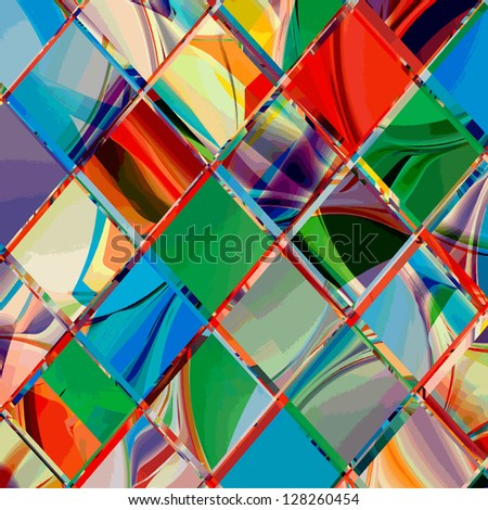 Grunge checkered colorful geometrical composition
