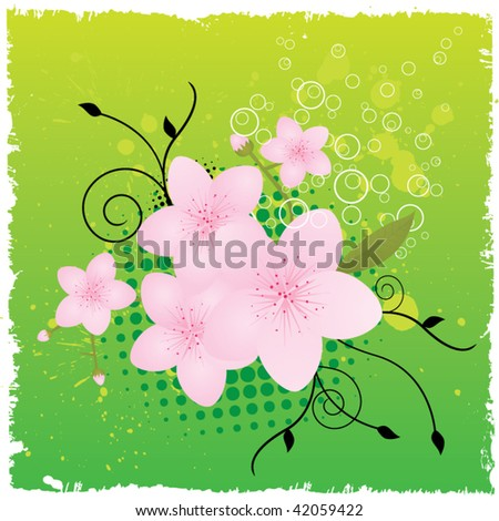 Grunge Cherry Blossom - stock vector