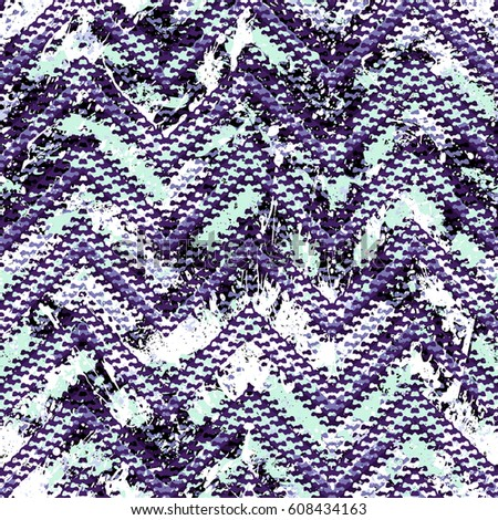 Grunge chevron vector pattern on watercolor paint splashed and splattered. Bold zigzag print with ethnic, tribal and retro motif in vintage boho chic style. Modern hand drawn texture in lavender color