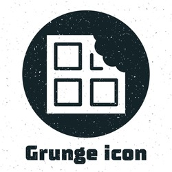 Grunge Chocolate bar icon isolated on white background. Monochrome vintage drawing. Vector