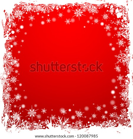 Grunge Christmas Frame with Snowflakes, vector illustration