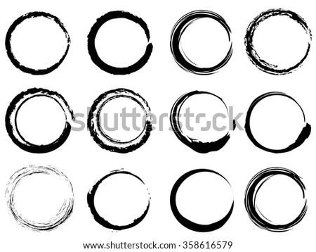 grunge circle brush strokes set