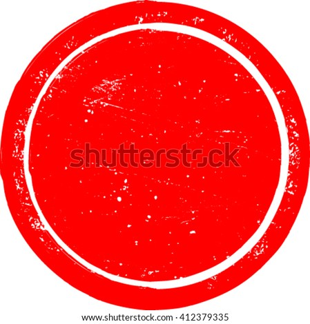 Grunge Circle Shape. Distressed Texture Rounded Shape. Red Rubber Stamp In Circle Form. Vector. Sticker Icon.
